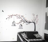 adhesivo árbol jaulas flores