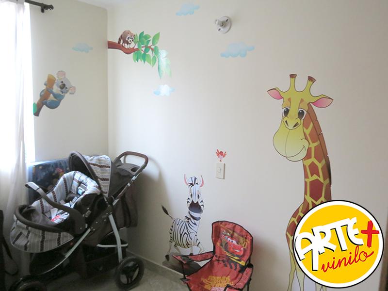foto mural jirafas hipopotamo