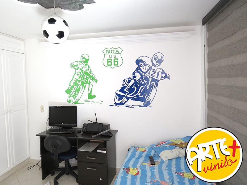 motos habitaciones modernas decoradas con vinilos decorativos